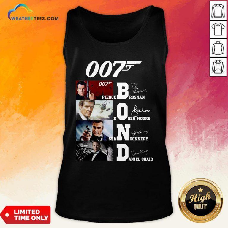 Brown James Bond 007 Pierce Brosnan Roger Moore Sean Connery Daniel Craig Signatures Tank Top - Design By Weathertees.com