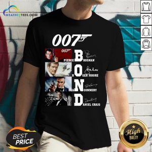 Brown James Bond 007 Pierce Brosnan Roger Moore Sean Connery Daniel Craig Signatures V-neck - Design By Weathertees.com