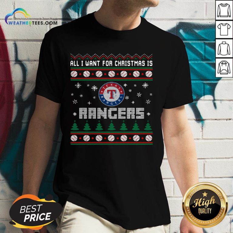 Crazy MLB All I Want For Christmas Is Texas Rangers Baseball Sports V-neck - Design By Weathertees.com