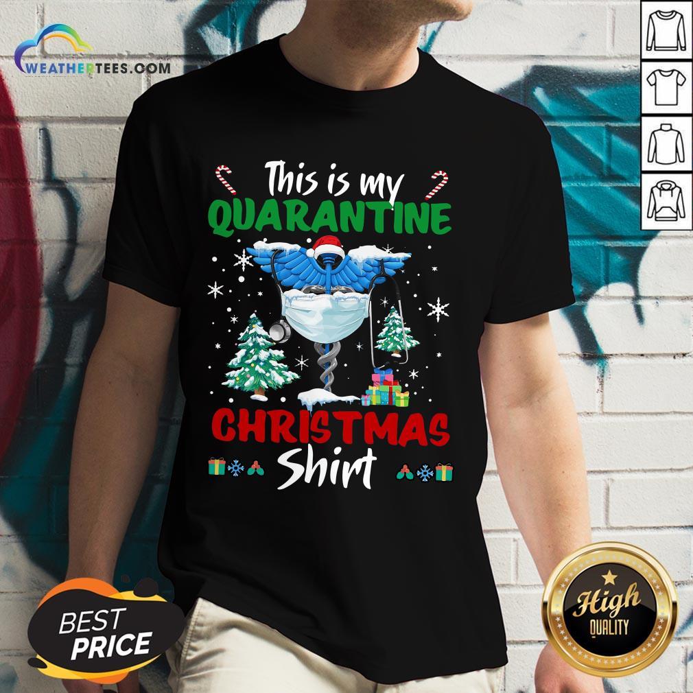 Enough This Is My Quarantine Nurse Gift Mask Christmas V-neck - Design By Weathertees.com