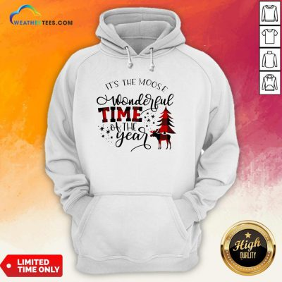 Fun It's The Moose Wonderful Time Of The Year Christmas Hoodie - Design By Weathertees.com