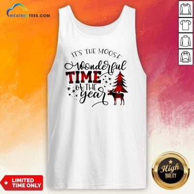 Fun It's The Moose Wonderful Time Of The Year Christmas Tank Top - Design By Weathertees.com
