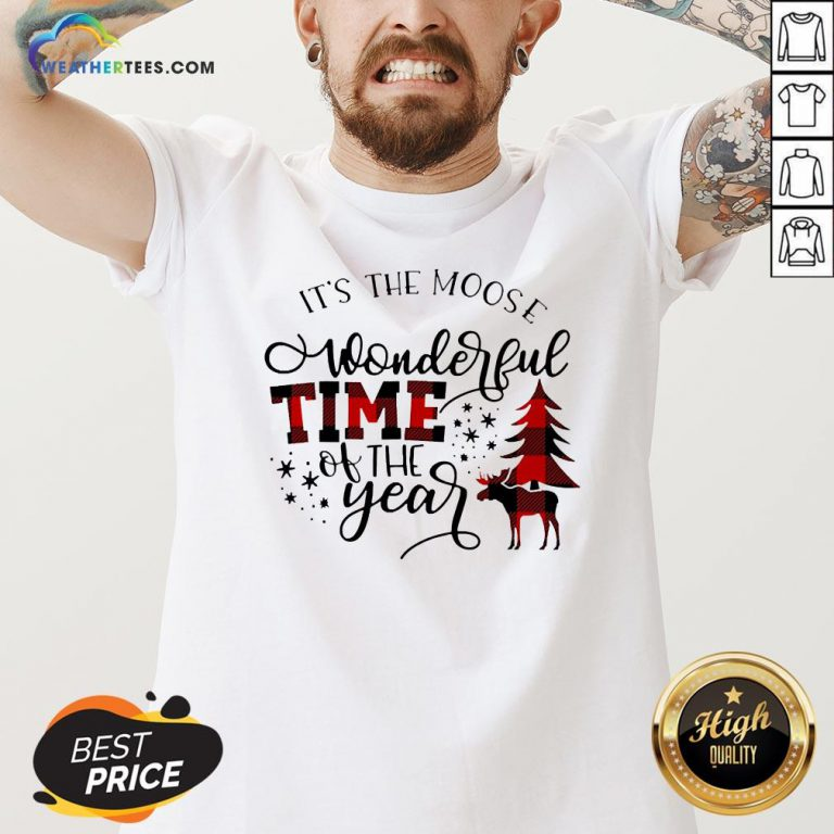 Fun It's The Moose Wonderful Time Of The Year Christmas V-neck - Design By Weathertees.com
