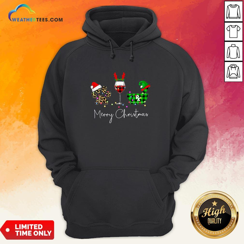 Fun Paw Dog Wine Coffee Elf Merry Christmas Hoodie- Design By Weathertees.com