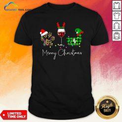 Fun Paw Dog Wine Coffee Elf Merry Christmas Shirt - Design By Weathertees.com