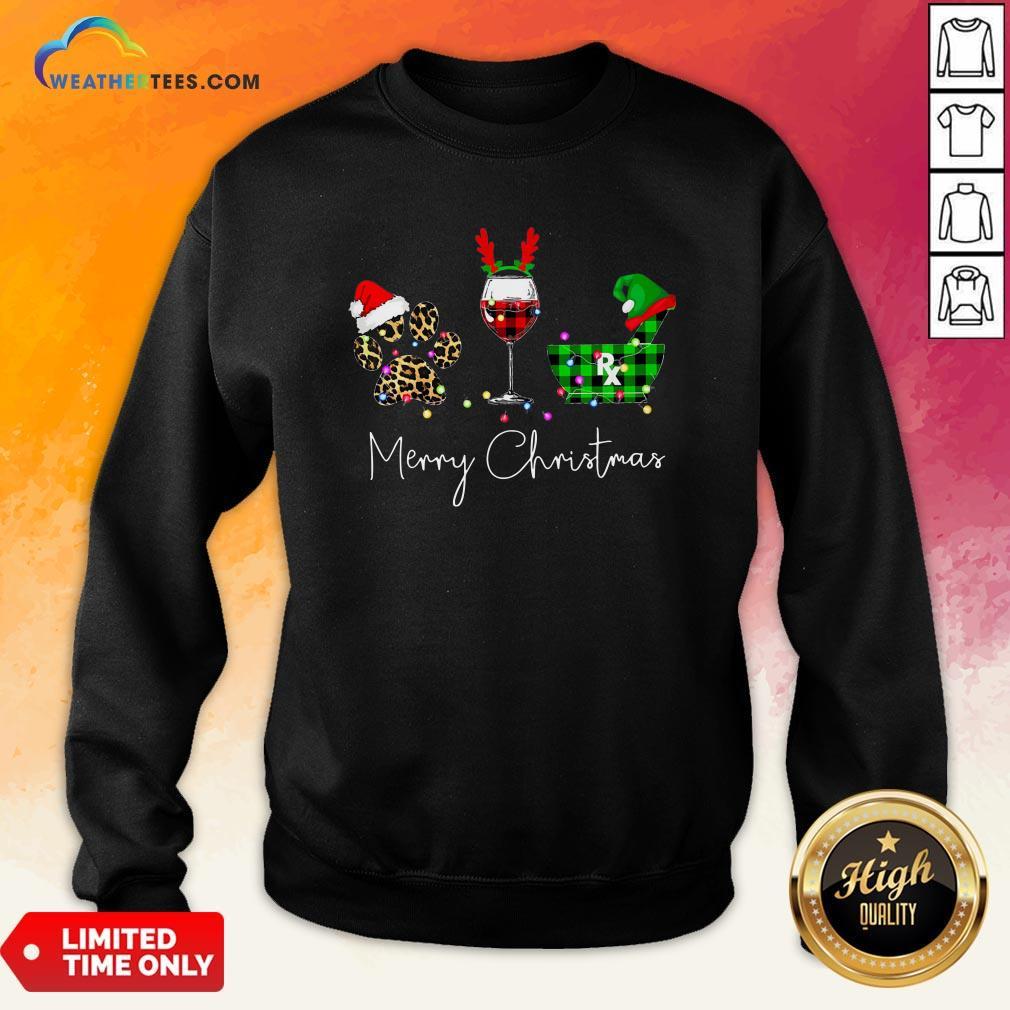 Fun Paw Dog Wine Coffee Elf Merry Christmas Sweatshirt - Design By Weathertees.com