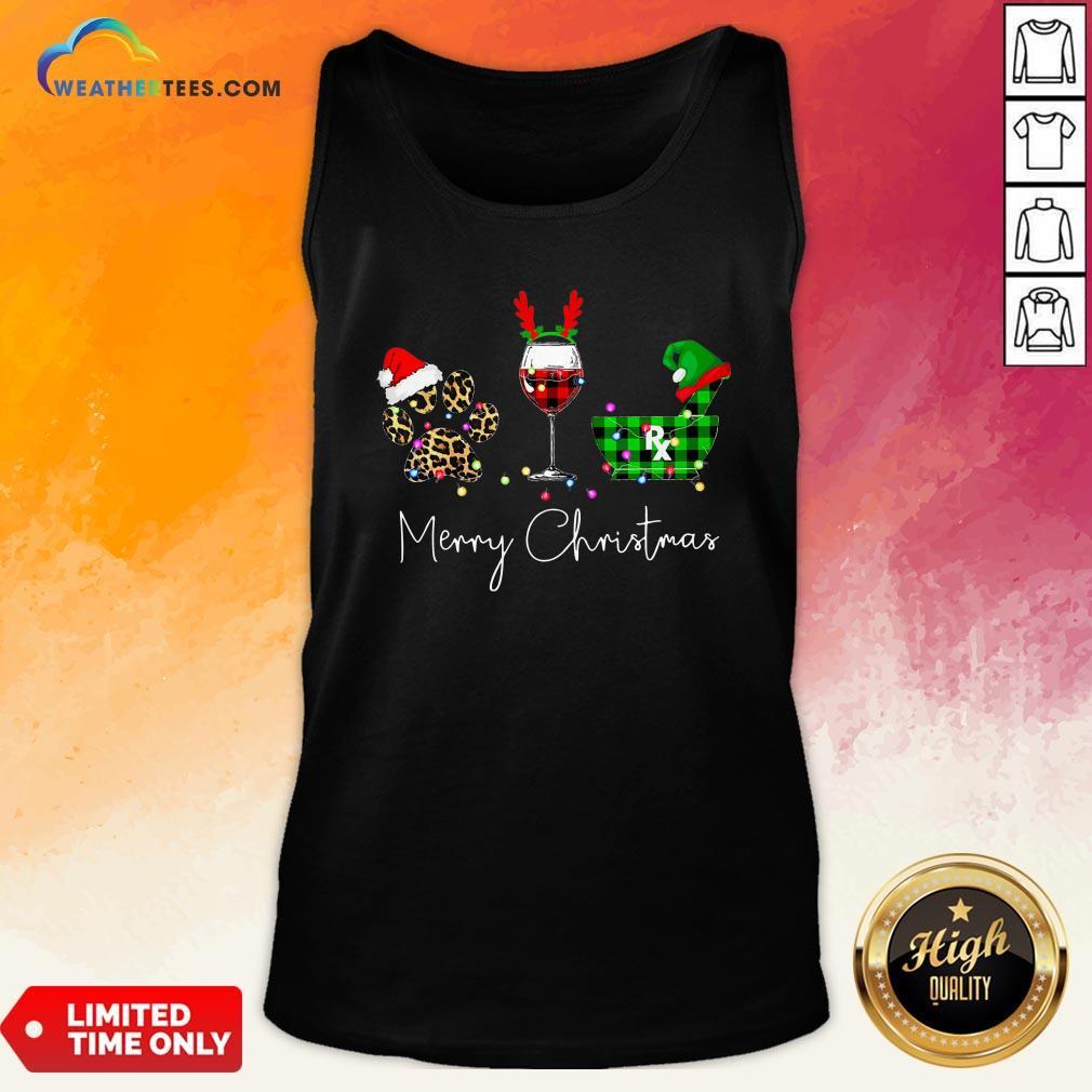 Fun Paw Dog Wine Coffee Elf Merry Christmas Tank Top- Design By Weathertees.com