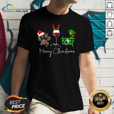 Fun Paw Dog Wine Coffee Elf Merry Christmas V-neck - Design By Weathertees.com