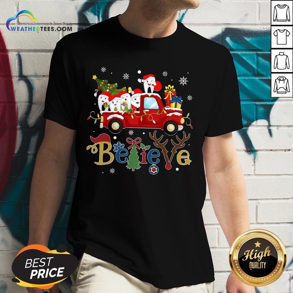 Good Dental Believe Merry Christmas V-neck - Design By Weathertees.com