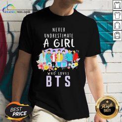 Happy Never Underestimate A Girl Who Loves BTS V-neck - Design By Weathertees.com