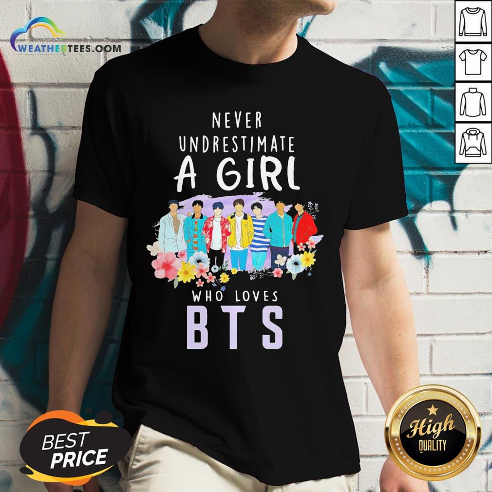 Happy Never Underestimate A Girl Who Loves BTS V-neck - Design By Weathertees.com
