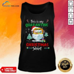 Happy This Is My Quarantine School Bus Mask Christmas Tank Top - Design By Weathertees.com