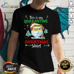 Happy This Is My Quarantine School Bus Mask Christmas V-neck- Design By Weathertees.com