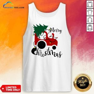 Hot Merry Christmas Tractor Sweat Tank Top - Design By Weathertees.com