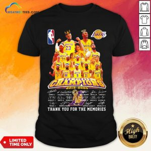 If Los Angeles Lakers Nba Finals Champions 2019 2020 Thank You For The Memories Signatures Shirt - Design By Weathertees.com