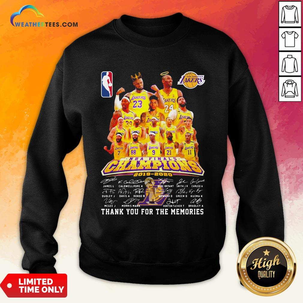 If Los Angeles Lakers Nba Finals Champions 2019 2020 Thank You For The Memories Signatures Sweatshirt - Design By Weathertees.com