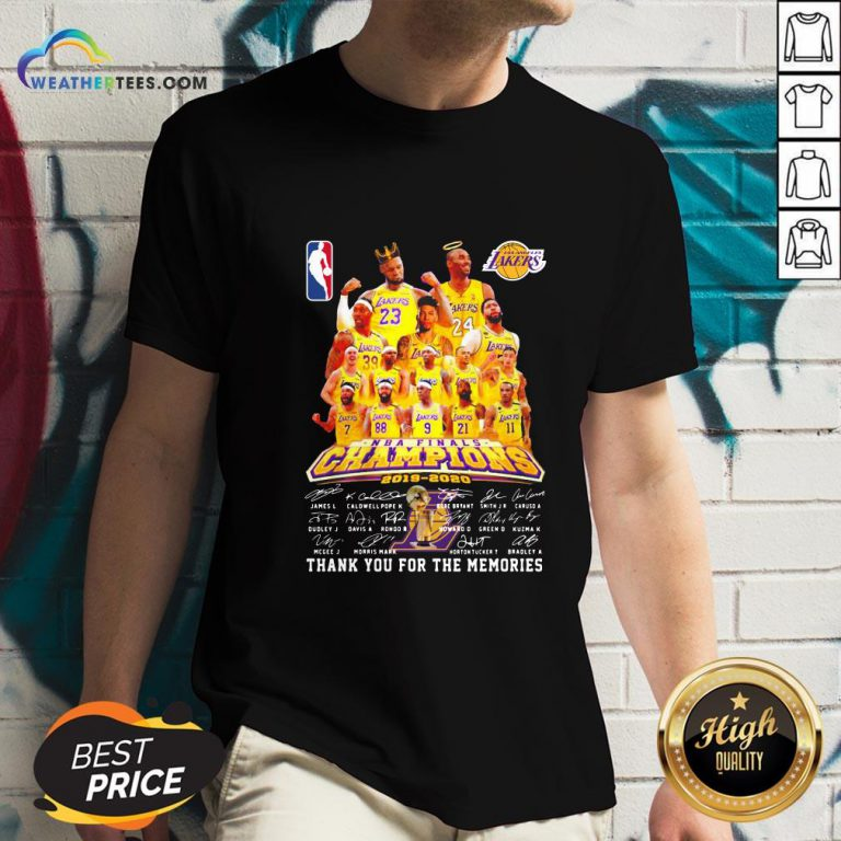 If Los Angeles Lakers Nba Finals Champions 2019 2020 Thank You For The Memories Signatures V-neck - Design By Weathertees.com