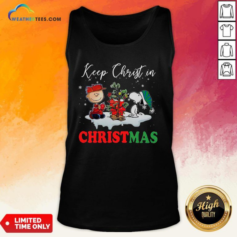 Keep Snoopy And Charlie Brown Keep Christ In Christmas 2020 Tank Top- Design By Weathertees.com