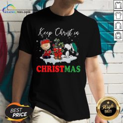 Keep Snoopy And Charlie Brown Keep Christ In Christmas 2020 V-neck - Design By Weathertees.com