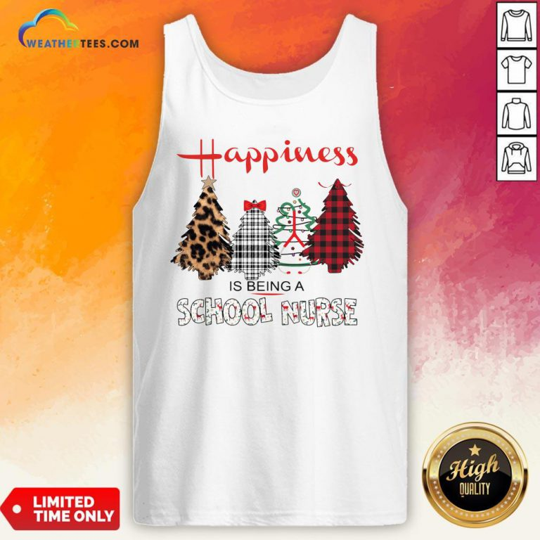 Look Happiness Is Being A School Nurse Christmas Tank Top - Design By Weathertees.com