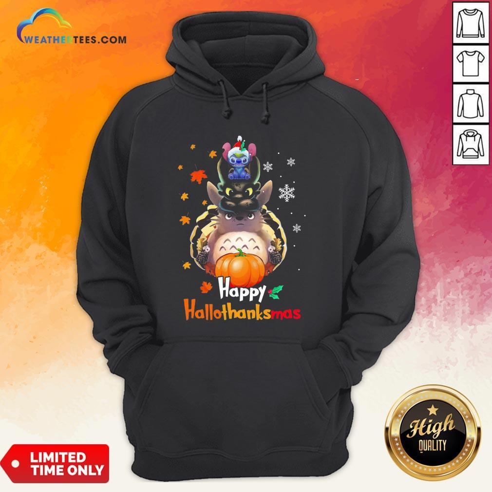 Mine Santa Stitch Night Fury Totoro Happy Hallothanksmas Hoodie - Design By Weathertees.com