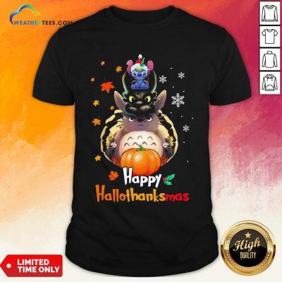 Mine Santa Stitch Night Fury Totoro Happy Hallothanksmas Shirt - Design By Weathertees.com