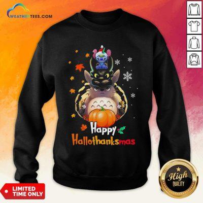 Mine Santa Stitch Night Fury Totoro Happy Hallothanksmas Sweatshirt - Design By Weathertees.com