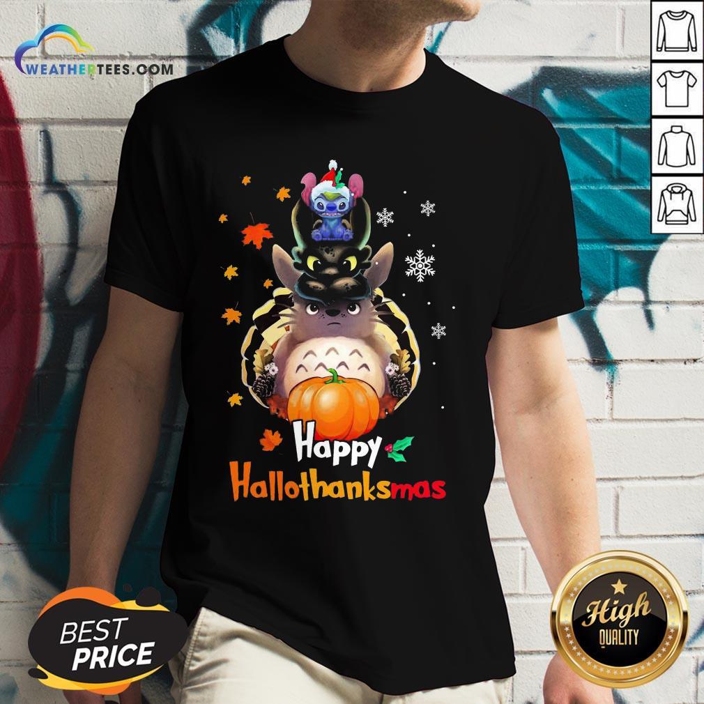 Mine Santa Stitch Night Fury Totoro Happy Hallothanksmas V-neck- Design By Weathertees.com