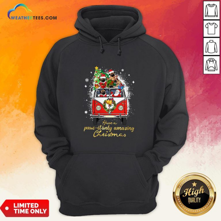 My Pug And Satan Claus Have A Pawsitively Amazing Christmas Hoodie - Design By Weathertees.com