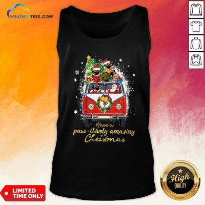 My Pug And Satan Claus Have A Pawsitively Amazing Christmas Tank Top - Design By Weathertees.com