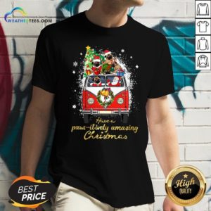 My Pug And Satan Claus Have A Pawsitively Amazing Christmas V-neck - Design By Weathertees.com