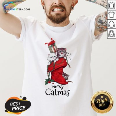 Nice Meowy Catmas Christmas V-neck - Design By Weathertees.com
