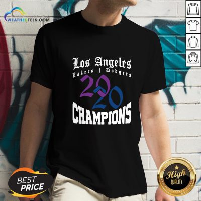 Official La Dodgers Lakers 2020 Champions World Series Baseball Finals Basketball Championship V-neck- Design By Weathertees.com