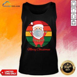 Pig Santa Mask Father Christmas Holidays Vintage Sunset Tank Top - Design By Weathertees.com