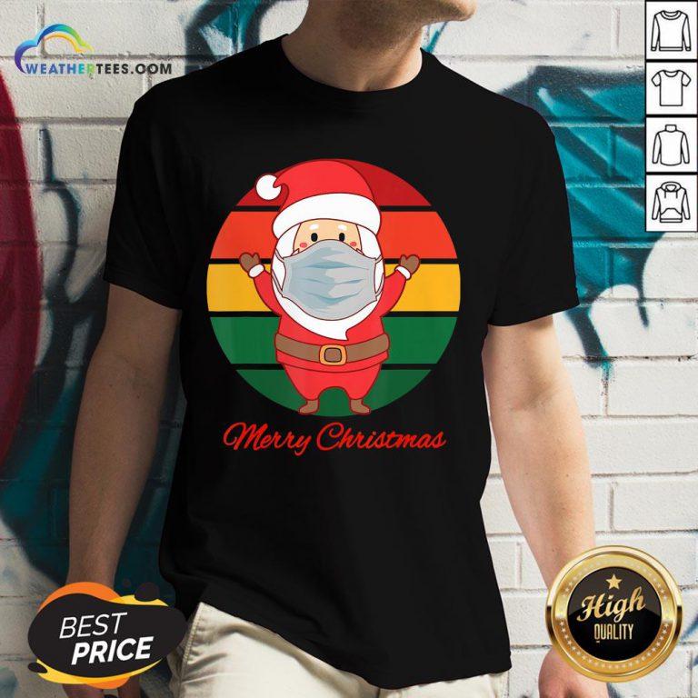 Pig Santa Mask Father Christmas Holidays Vintage Sunset V-neck- Design By Weathertees.com