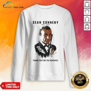 Premium Sean Connery 1930 2020 Thank You For The Memories Signatures Sweatshirt - Design By Weathertees.com