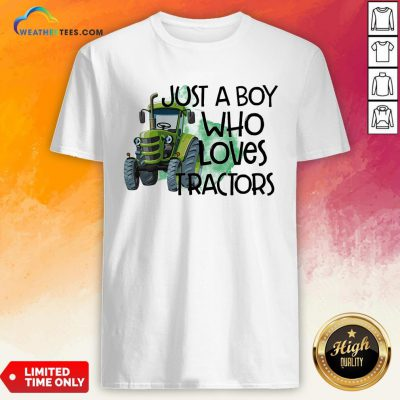 Purple Just A Boy Who Loves Tractors Shirt - Design By Weathertees.com