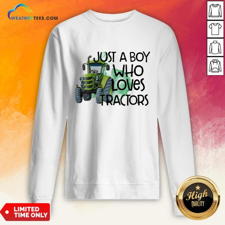 Purple Just A Boy Who Loves Tractors Sweatshirt - Design By Weathertees.com