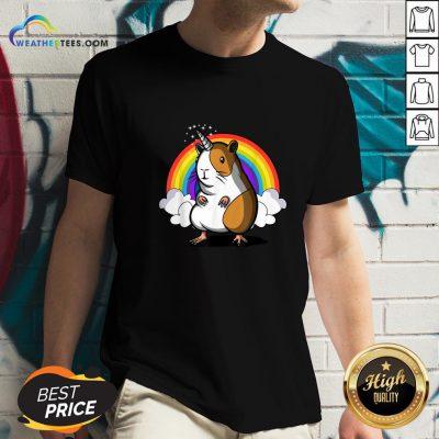 Right Guinea Unipig Rainbow Colors V-neck- Design By Weathertees.com