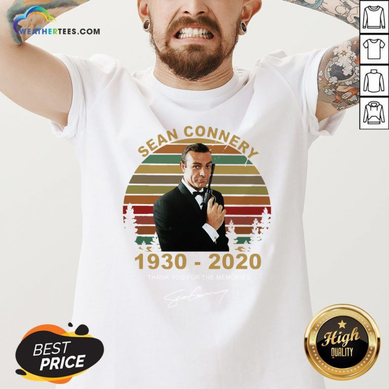 Sick Sean Connery 1930-2020 Thank You For The Memories Signature Vintage V-neck- Design By Weathertees.com