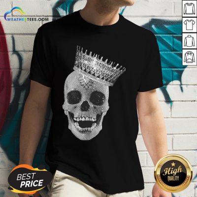 Strong King Skull Diamond V-neck- Design By Weathertees.com