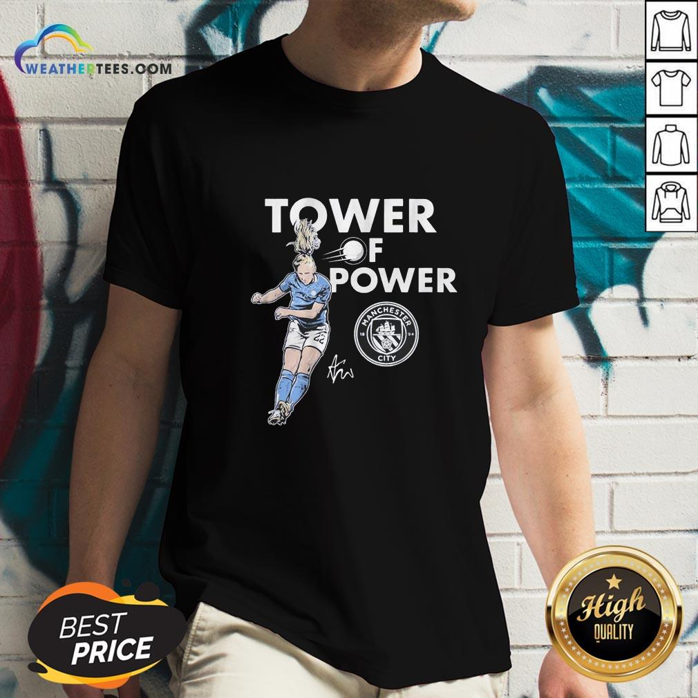 Talk Kristie Mewis Tower Of Power Manchester City Signature V-neck - Design By Weathertees.com