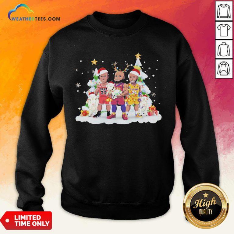 Too Kobe Bryant Lebron James Santa Reindeer Christmas Sweatshirt - Design By Weathertees.com