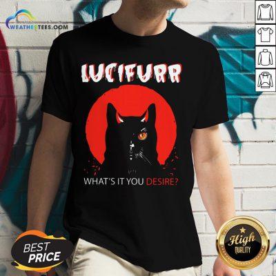Trust Black Cat Lucifurr What's It You Desire V-neck - Design By Weathertees.com