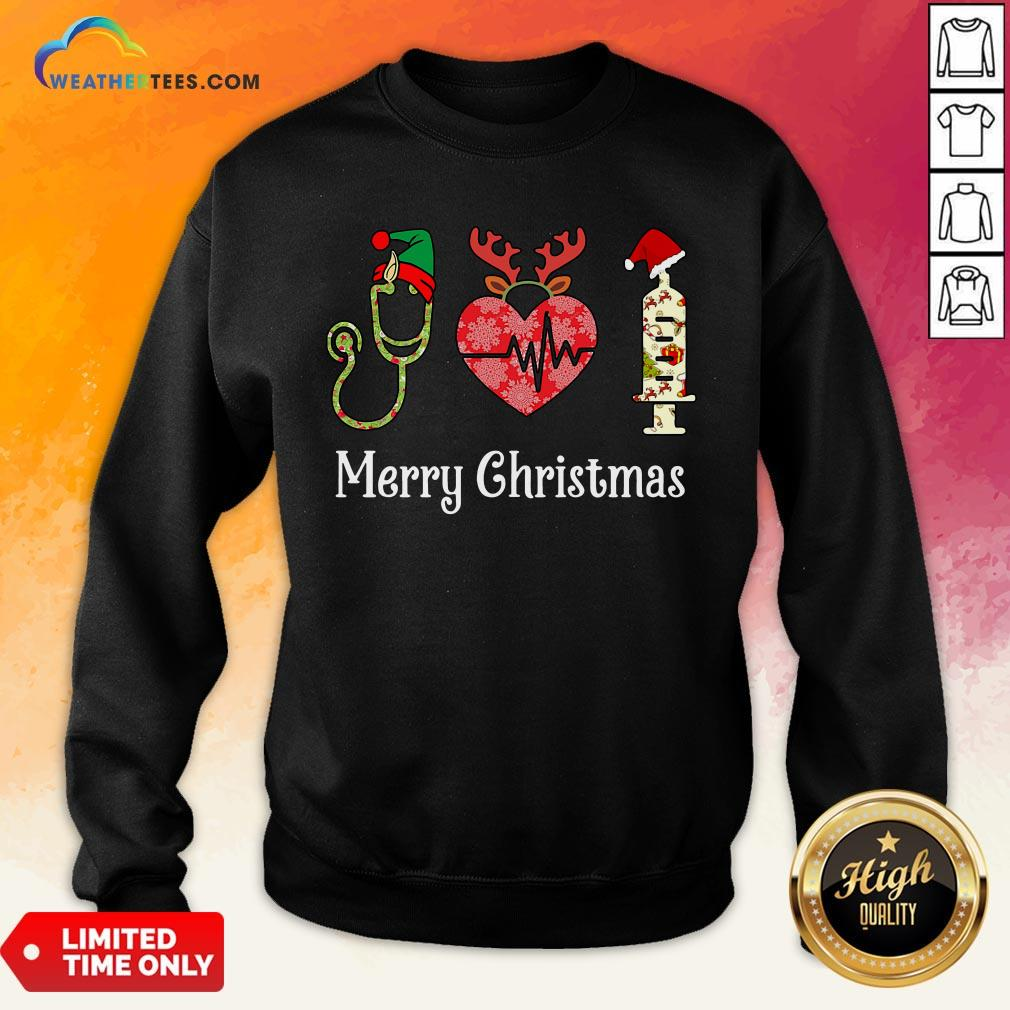 Vibe Funny Nurse Merry Christmas Sweatshirt - Design By Weathertees.com