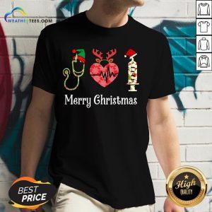 Vibe Funny Nurse Merry Christmas V-neck- Design By Weathertees.com