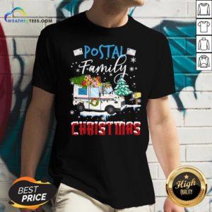 Work Postal Family Christmas V-neck - Design By Weathertees.com