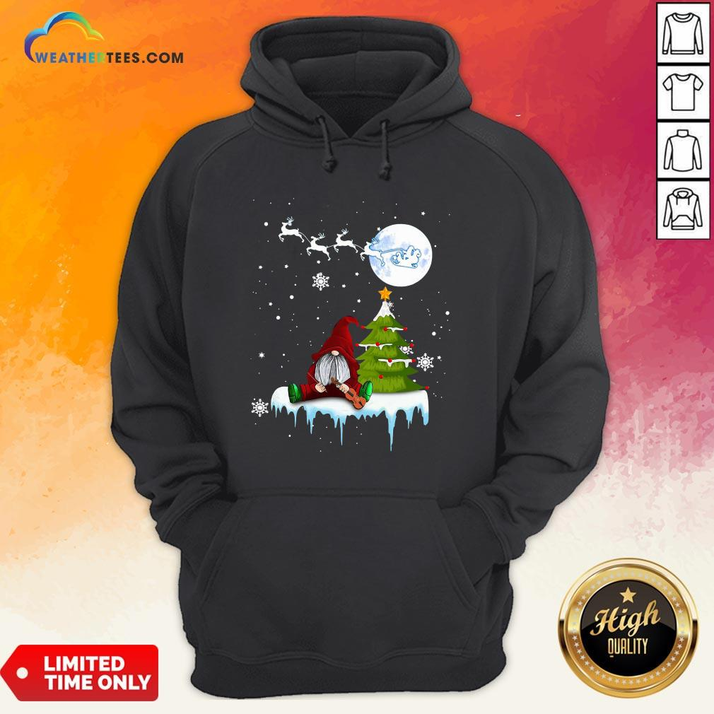 Young Funny Gnome Play Violin Merry Christmas Hoodie- Design By Weathertees.com