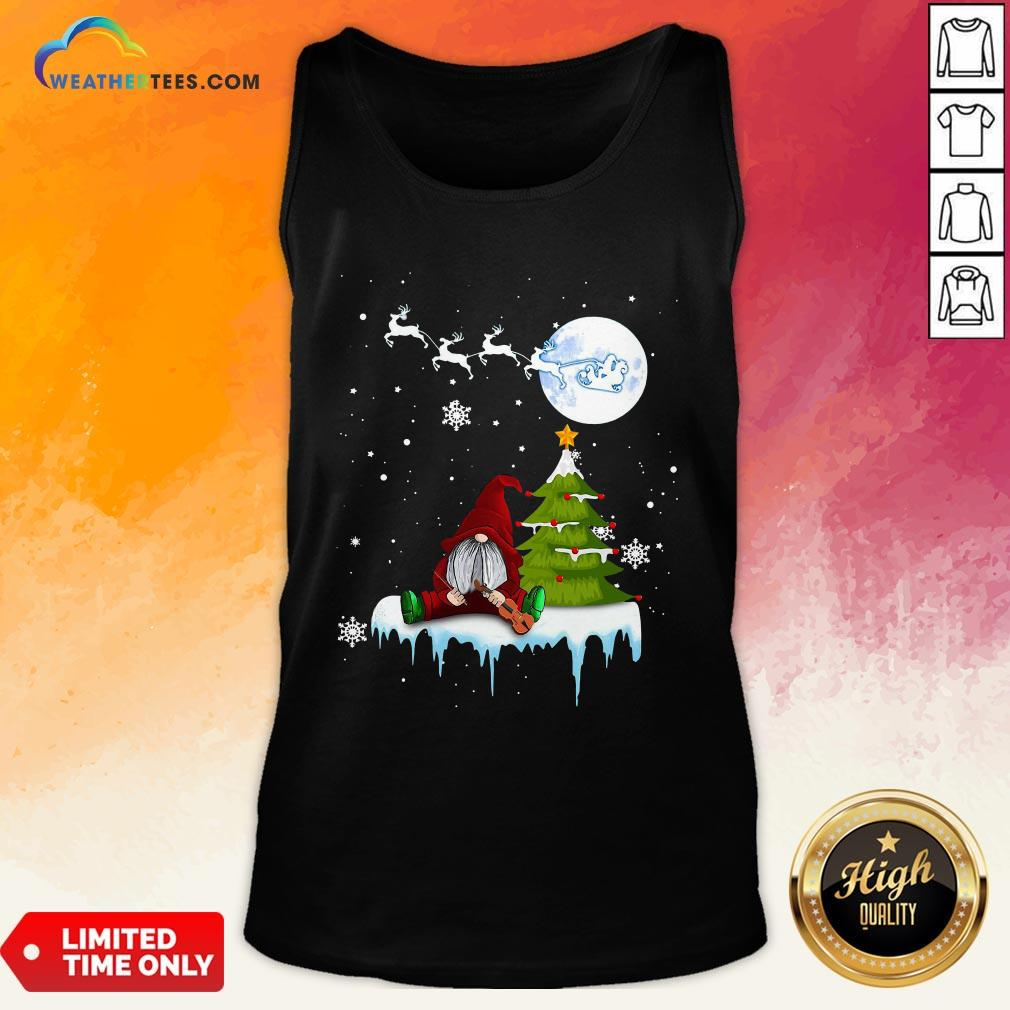 Young Funny Gnome Play Violin Merry Christmas Tank Top- Design By Weathertees.com