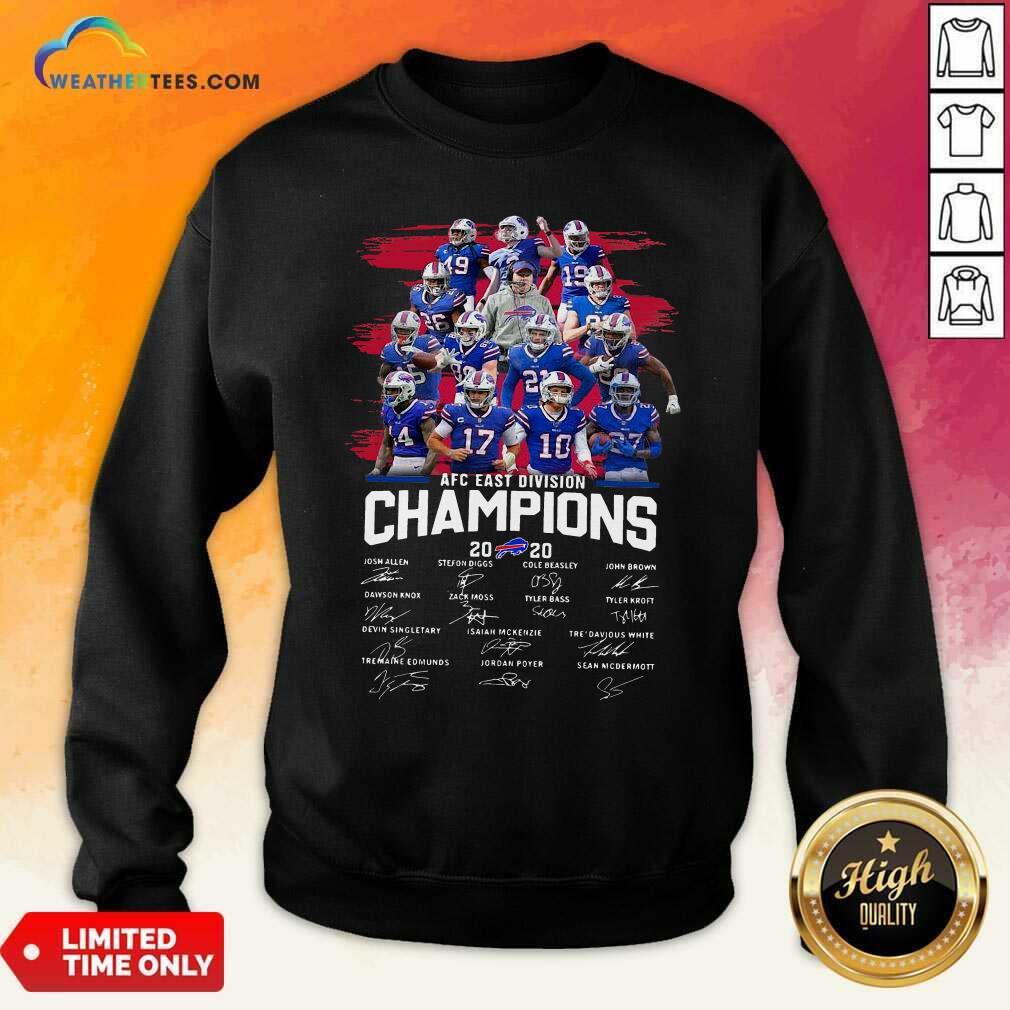 Buffalo Bills AFC East Division Champions Signatures Sweatshirt - Design By Weathertees.com